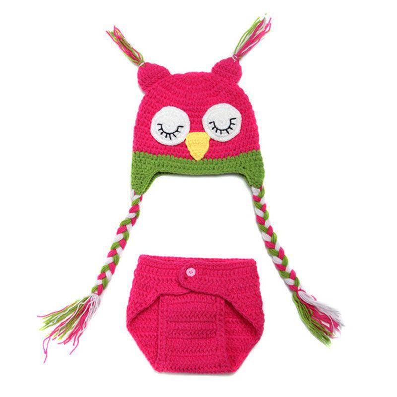 Newborn Sleepy Owl Costume,Handmade Knit Crochet Baby Boy Girl Owl Hat Diaper Cover Set,Animal Halloween Costume,Infant Photo Props