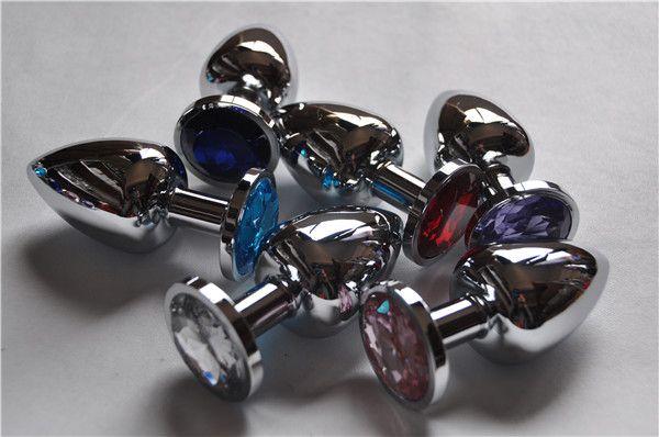 Gran tamaño 4.0 cm Unisex Plug anal de acero inoxidable con joyas de cristal Butt Booty Beads Anus Dilatador Adulto Bondage BDSM juguete sexual Producto