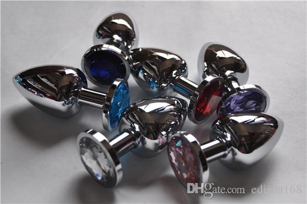 Storlek 4,0 cm Unisex rostfritt stål analpropp med kristall smycken butt booty pärlor anus dilator vuxen bondage bdsm sexleksak produkt