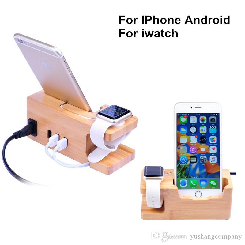 best service 9794c 69d55 Phone Charging Dock Station For Apple Watch for Iphone 7 7 Plus 6 6S Plus  5S Stand Holder Wooden with Charger USB Port