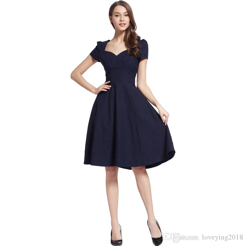 e7a49ada4f9 New Women Vintage Dresses Solid Cocktail Party Puffy Sleeve A Line Swing  Dress Square Collar Knee Length Retro Style Navy Dress Sundresses For Sale  Cocktail ...