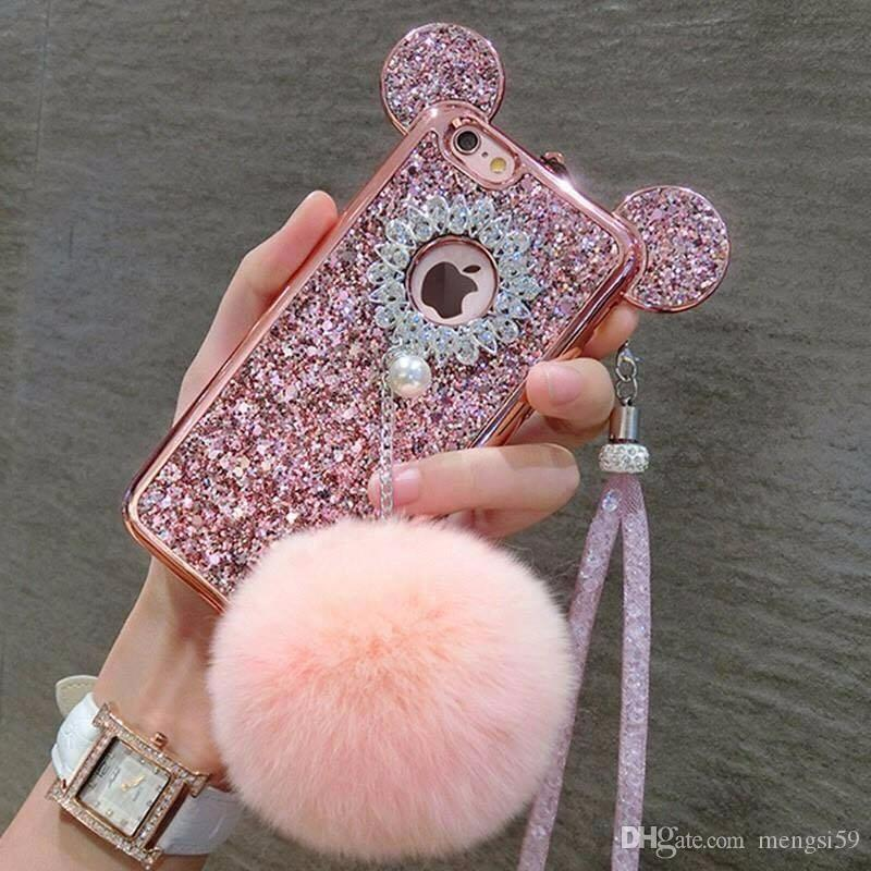 new concept 73d91 6c638 for iphone 6 6s 7 8 plus Luxury Pretty Cute Fashion Pompoms puff ball  tassel Flower diamond soft case cover lanyard