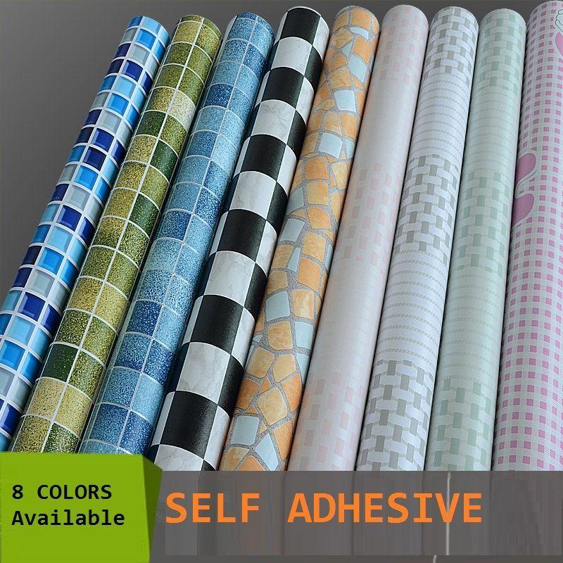 5meters Roll Self Adhesive Mosaic Wallpaper Peelu0026Stick Oil/Waterproof Pvc  Vinyl Tile Wall Paper For Kitchen Bathroom Window/Wall Free Wallpaper High  ...