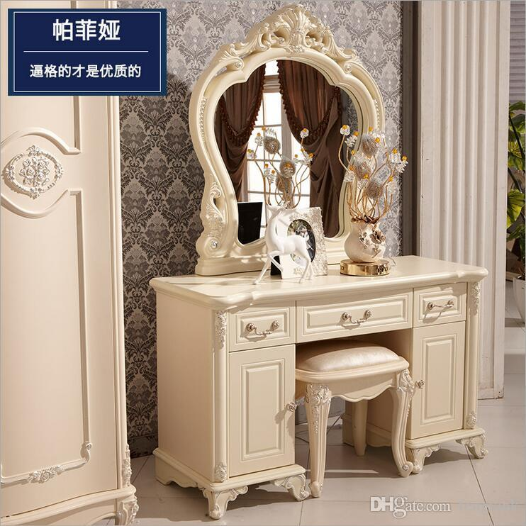 Best Quality Factory Price Royaleuropean Mirror Table Modern Bedroom  Dresser French Furniture White French Dressing Table P10142 At Cheap Price,  ...