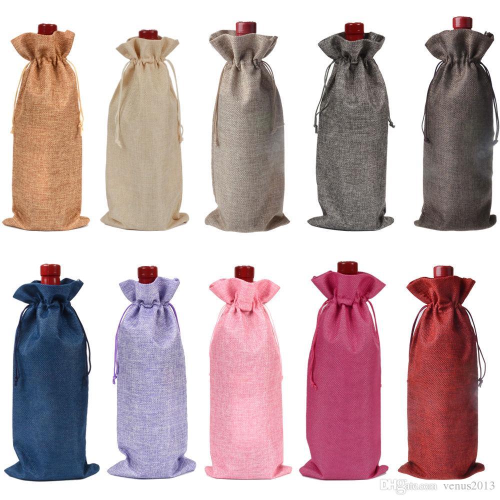 Sacs de cadeau de bouteille de vin de jute bordeaux 16 * 36cm Décorations de vin de Noël sacs pliants fournitures de fête