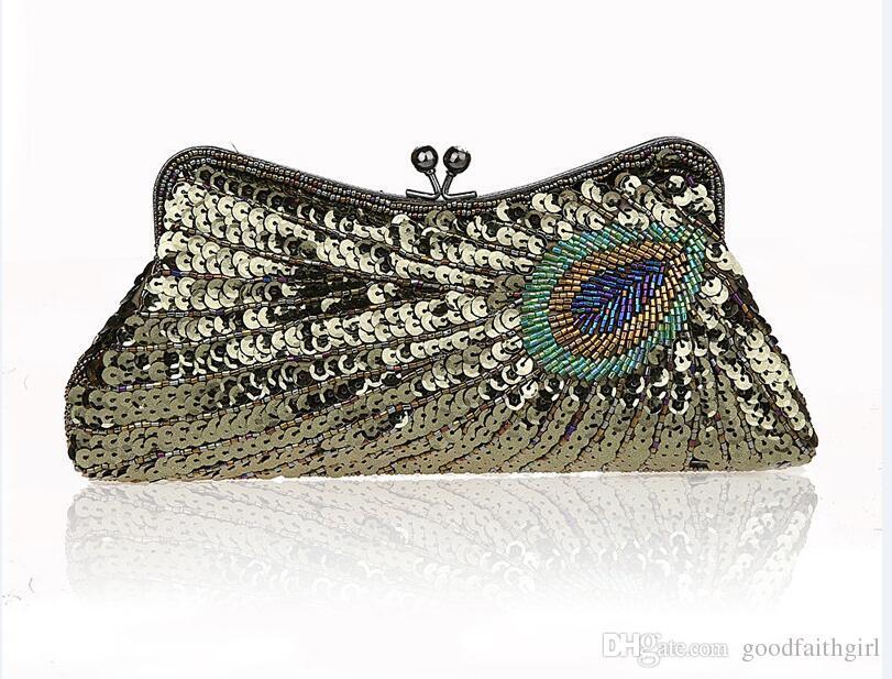 Vintage Beads Sequib Handbag Party wedding Bridal embroidery Evening Clutch Purse wallet make up bag case