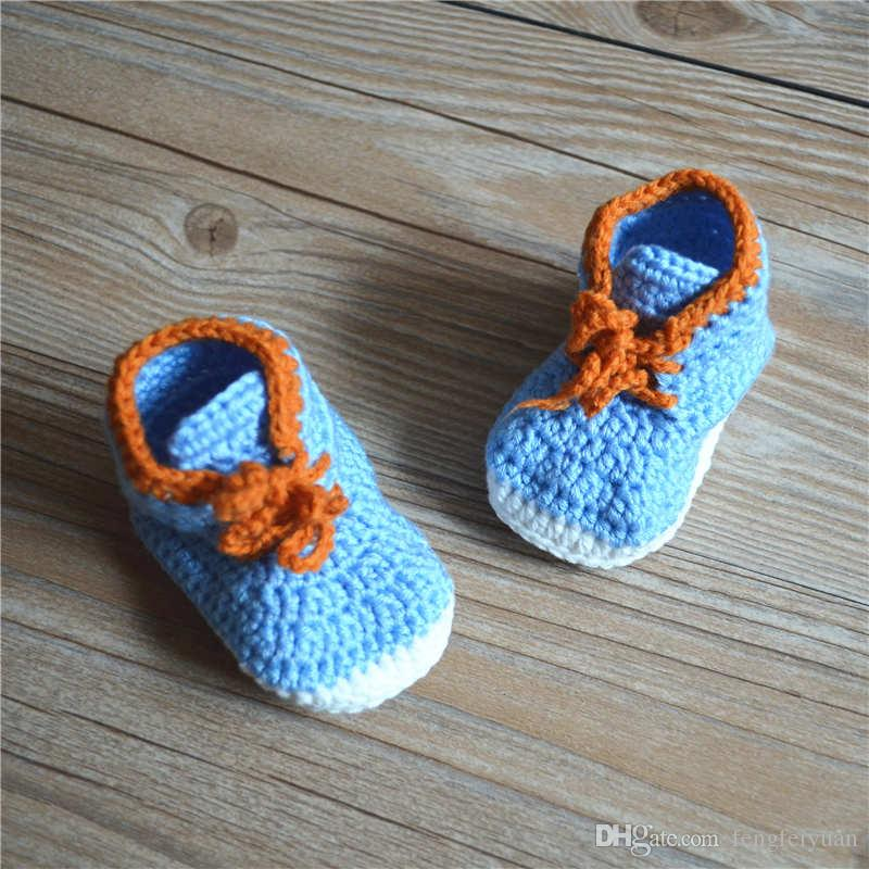 High quality baby crochet sneakers shoes,Handmade sneaker shoe sandals prewalker for infants1lots