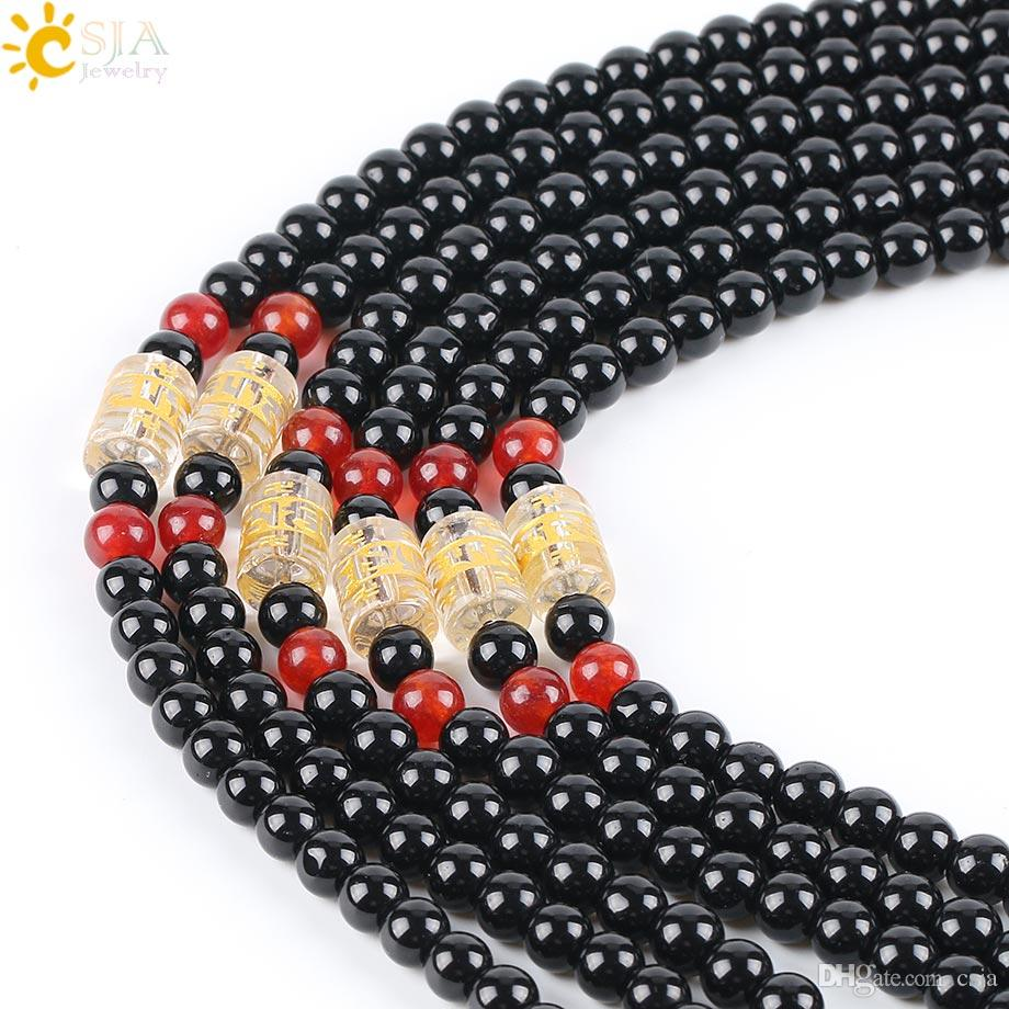 CSJA 6mm Ronde En Verre De Verre Noir Mala Collier De Perles pour Bijoux DIY Faire Ajouter Pendentif Par Vous-même Hommes Femmes Long Déclaration Collier E607