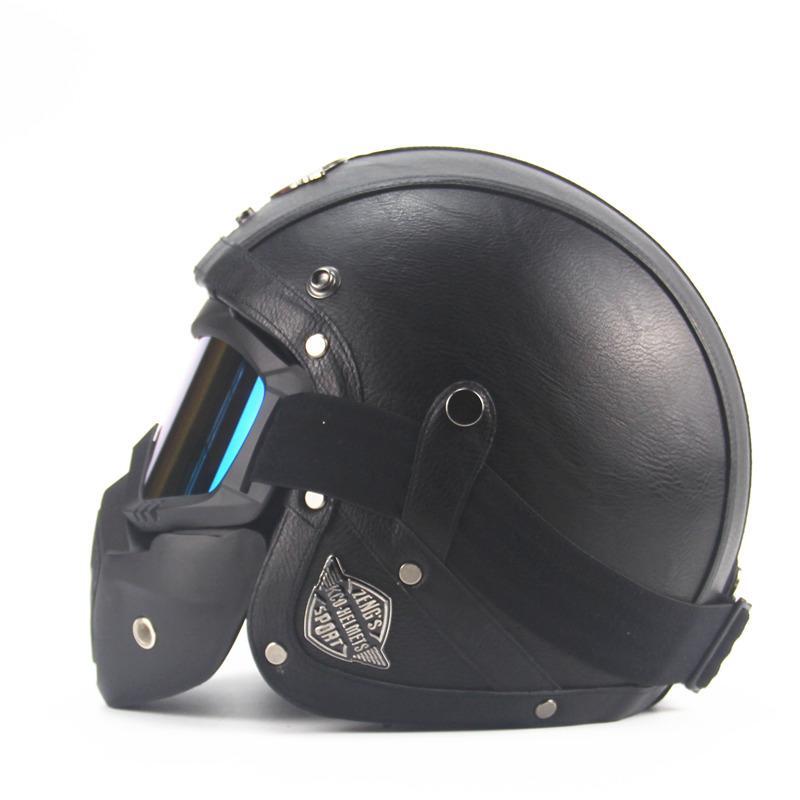 adult leather harley helmets 3 4 motorcycle helmet high quality chopper bike helmet open face. Black Bedroom Furniture Sets. Home Design Ideas