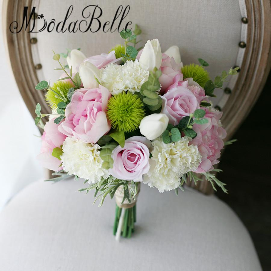 2018 Modabelle Artificial Flower Wedding Bouquet Green Pink Peony