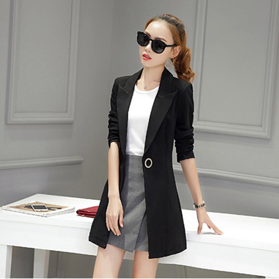 468b3c3e7366 2019 Slim Casual Women Blazers And Jackets Long Sleeve Suit Ladies Long  Blazer Feminino Manga Longa Office Suits Womens Formal 50N0485 From  Suntao520
