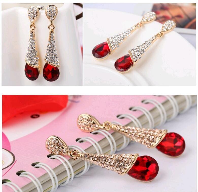Fashion Korean Blue Red Crystal Rhinestone Waterdrop Heart Bridal Stud Dangle Chandelier Earrings for Wedding Engagement Cheap Price
