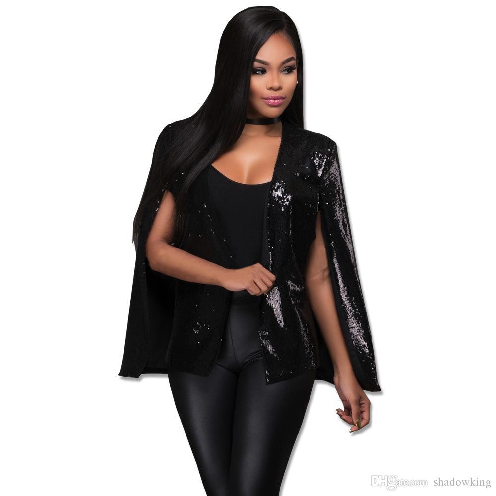2017 Autumn Europe Fashion Sequin Jackets Women Black Cardigan ...