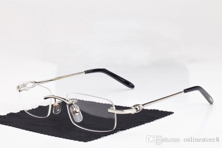Новая мода Мужчины Оптические Frame очки без оправы Gold Metal Buffalo Horn очки прозрачные линзы Солнцезащитные очки Occhiali lentes Lunette De Soleil