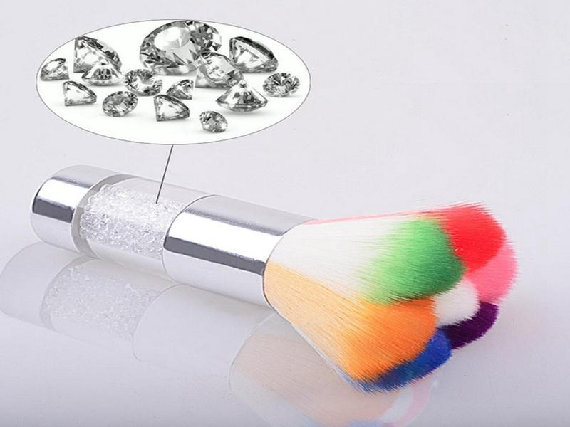Colorful Nail Dust Brushes Acrylic & UV Nail Gel Powder Nail Art Dust Remover Brush Cleaner Rhinestones Makeup Foundation Tool