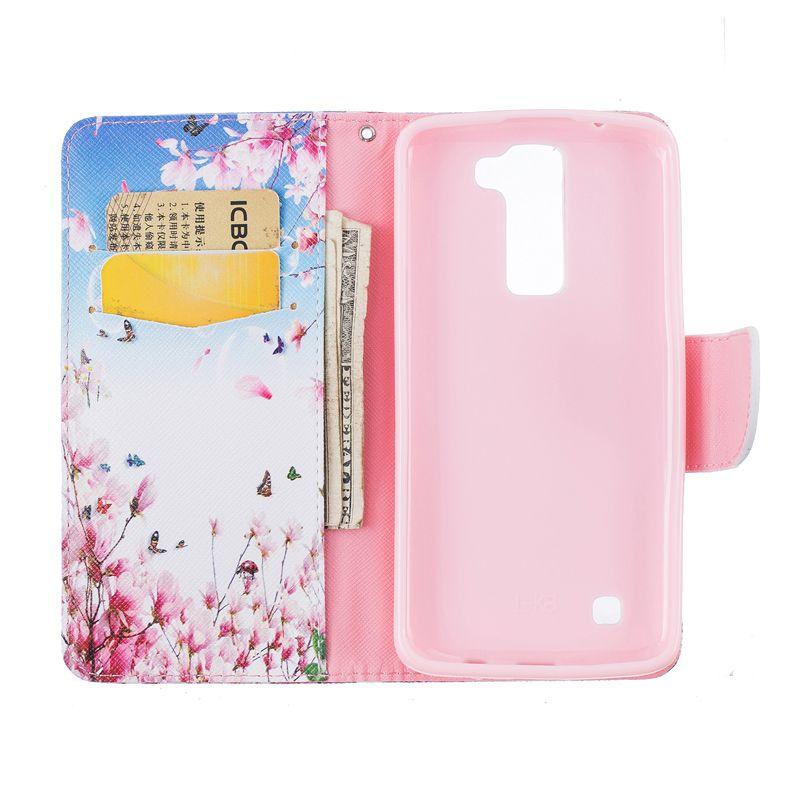 Mariposa billetera funda de cuero para LG K7 K8 K10 titular de la parte posterior titular de la tarjeta de crédito ranura de la caja del teléfono