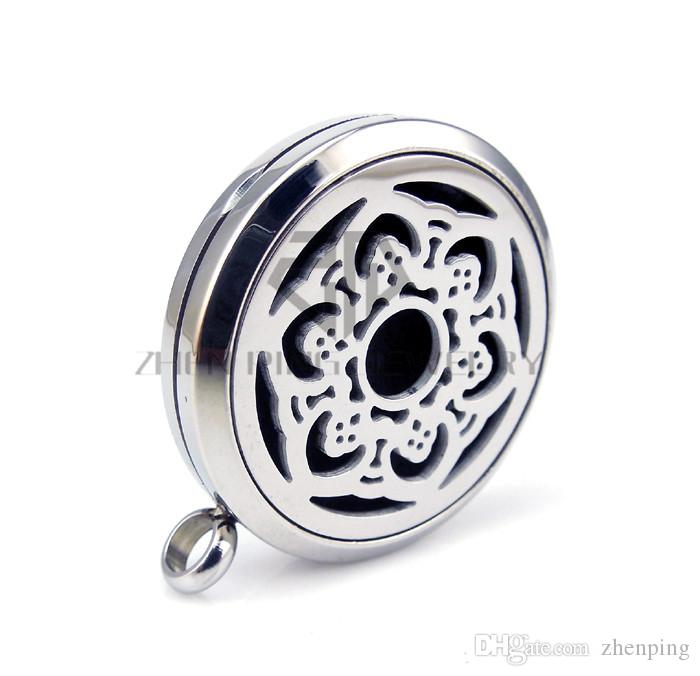 Chain as gift! Round Silver Hexagonal Flower 30mm Aromatherapy Stainless Steel Free Pads Essential Oils Magnetic Diffuser Locket