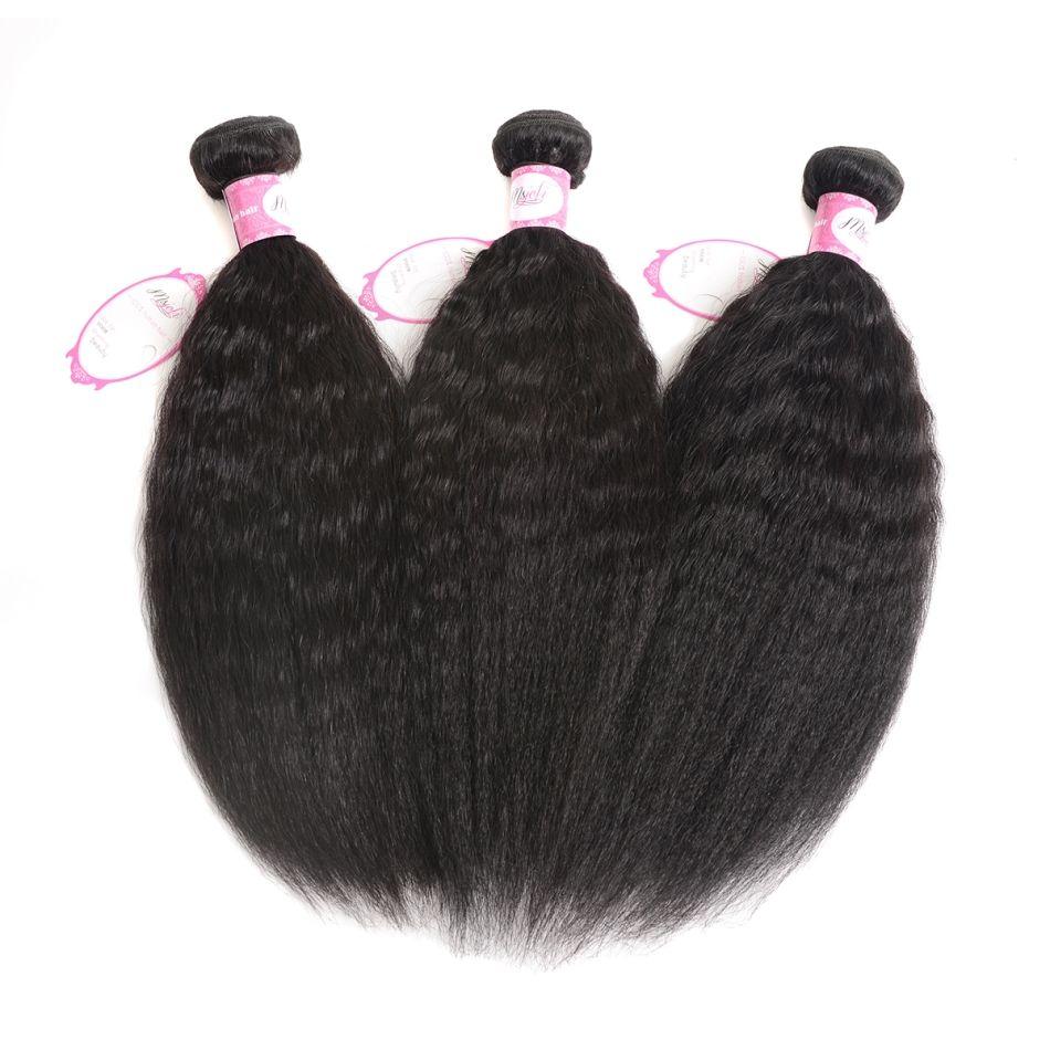 브라질 버진 머리카락 인간의 머리카락은 변태 스트레이트 야키 자연 색상 3bundles 3pics / 퀸 헤어 더블 Weft에서 Joli