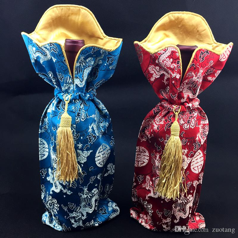High Quality Handmade Tassel Silk Brocade Bag for Chinese knot Wine Bottle Cover Clothes Home Party Table Decoration Bottle Packaging Pouch