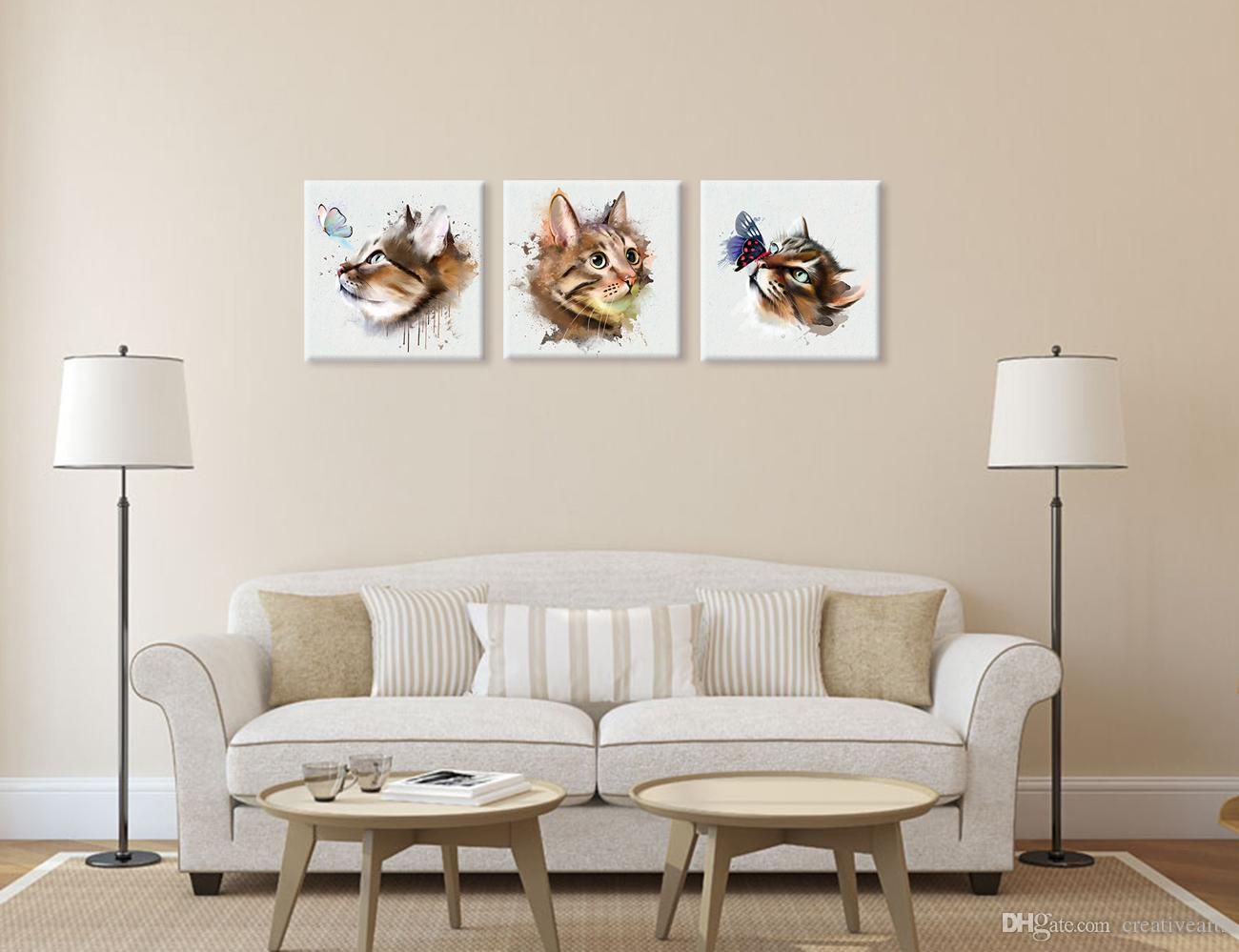 Cat Playing with Butterfly Animal Painting Prints Housewarming Gift Cute Canvas Arts Unframed 40cmx40cmx3