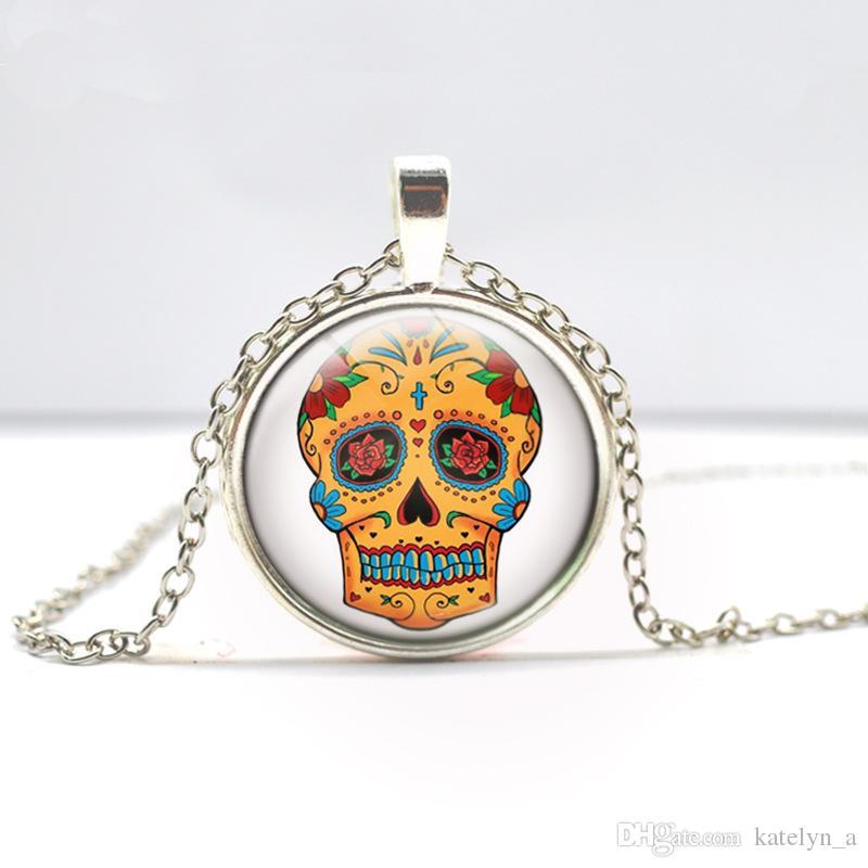 Bronze Silber Runde Glas Cabochon Halskette, Schädel Halskette, Sugar Skulls Mädchen Glas Foto Anhänger Halskette
