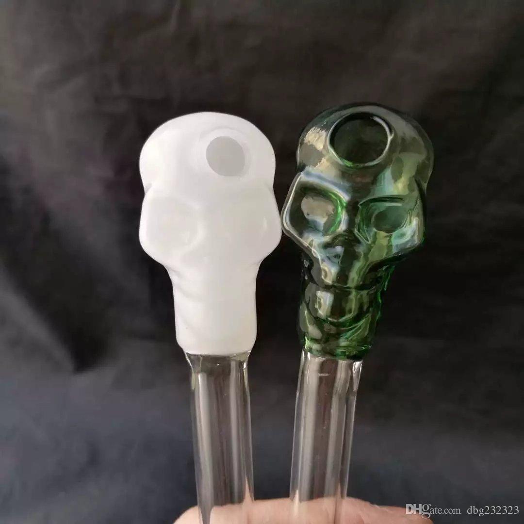 Tubo de vidrio colorido barato cráneo fumar manija pipas curvo Mini 6 pulgadas fumar pipas reciclado soplado a mano mejor quemador de aceite