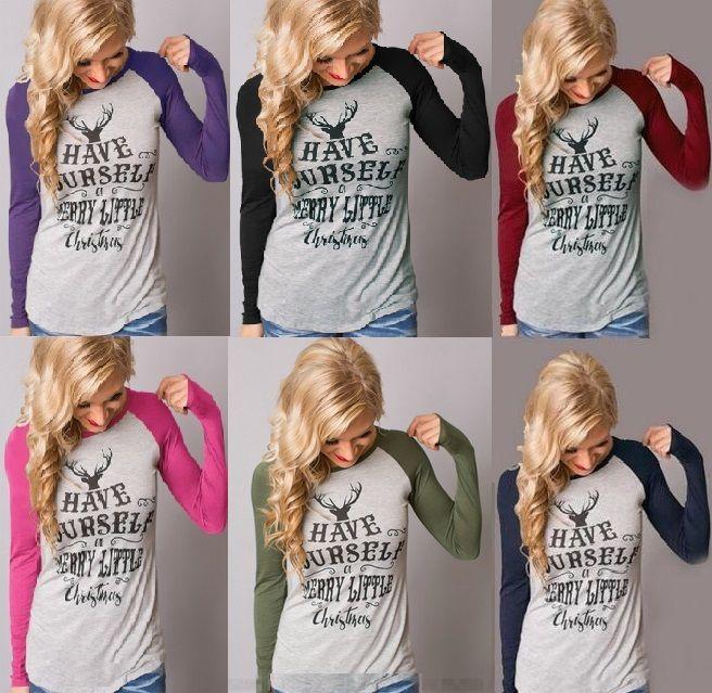3d6e04044ee Women T Shirt Christmas Deer Letter Printed Long Sleeve Patchwork Tops T  Shirt New Autumn Top Women Plus Size Crazy T Shirts T Shirt Prints From ...