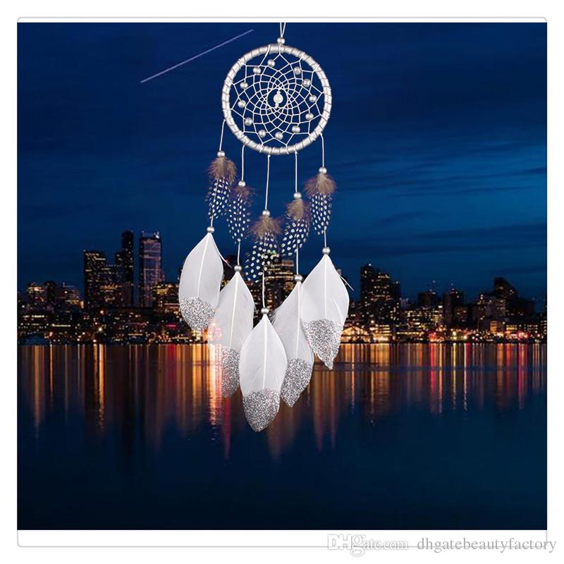 Hanging Decoration Jewelry Charms Wind Chime Hanging Handmade Traditional White Feather Dream Catcher Wall Hanging Car Ornament Gift Charms