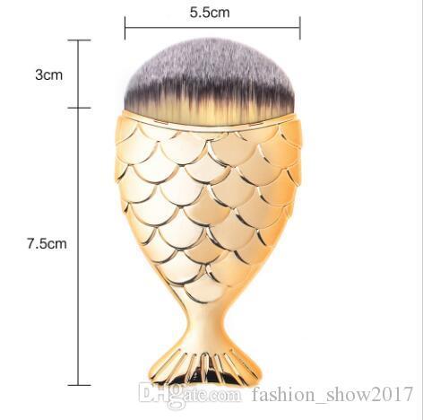 Nouveau Desgin Mode Chaud Coloré Sirène De Poisson Queue De Forme Poudre Blush Fondation Ovale Maquillage Brosses Make Up Outils