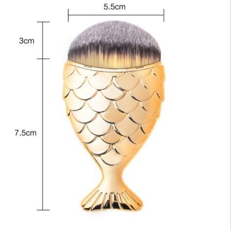 Yeni Desgin Moda Sıcak Renkli Mermaid Balık Kuyruğu Şekli Pudra Allık Vakfı Oval Makyaj Fırçalar Makyaj Araçları