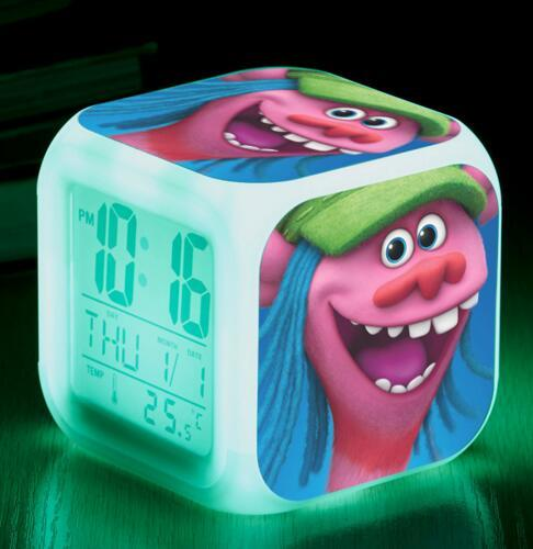 DHL Led Alarm Clock Trolls Glowing Digital Clock Cartoon Movie LED Change Digital Alarm Baby Children Night Gift Lamp Table Clock