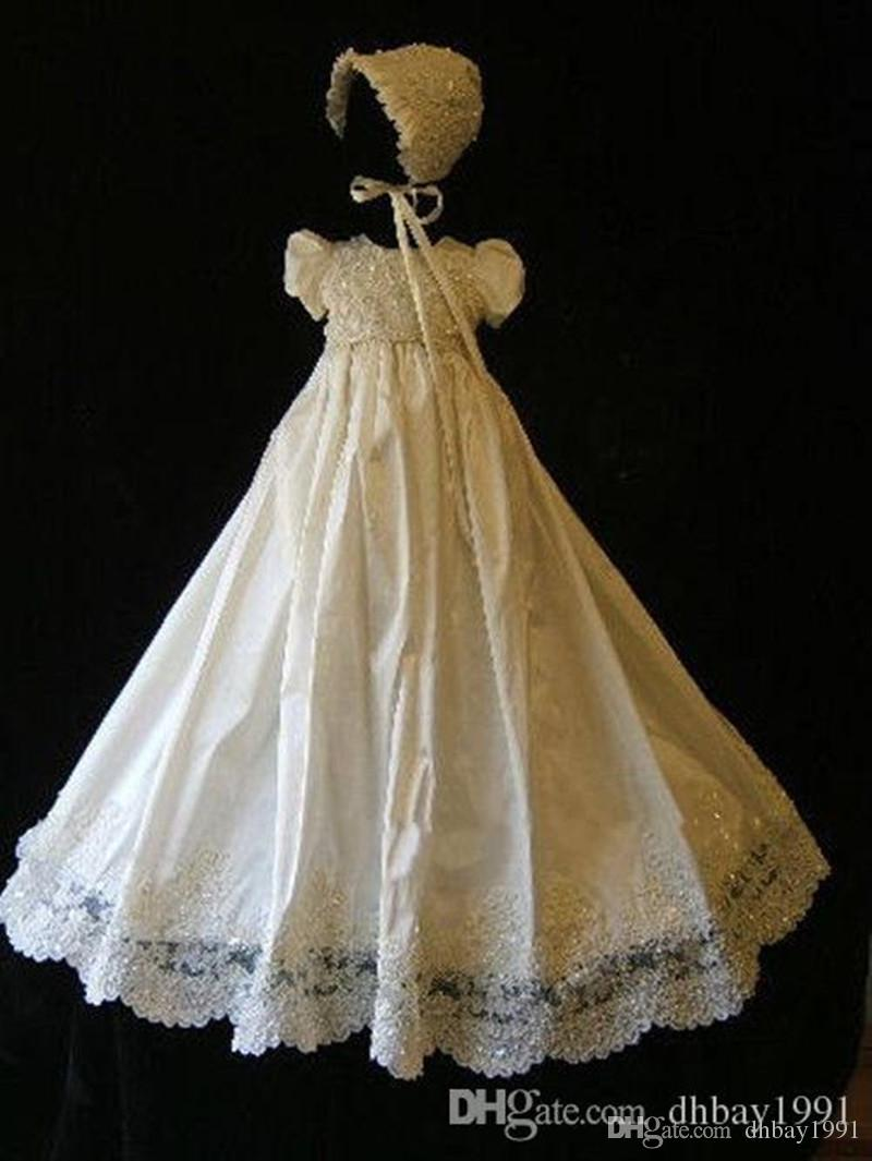 ba9758db096a0 2019 White Ivory Baby Girl Christening Dress Baptism Gown Lace Beading  Satin With Bonnet 0 3 6 9 12 15 24 Months From Dhbay1991