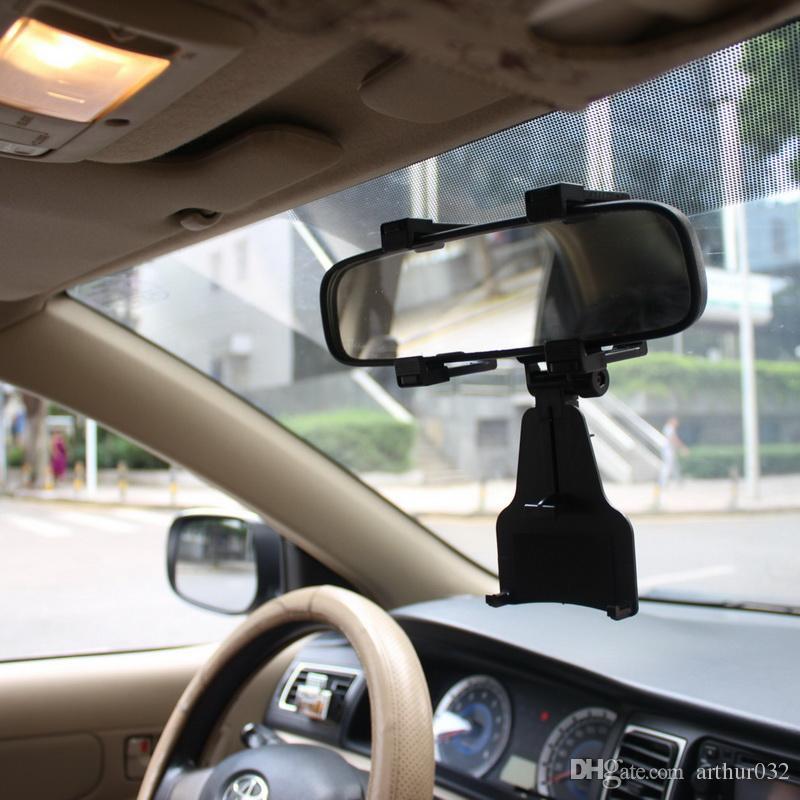 Support de voiture réglable de support de voiture de rétroviseur de support universel de miroir pour le support universel de rotation de smartphone support de GPS avec la boîte au détail