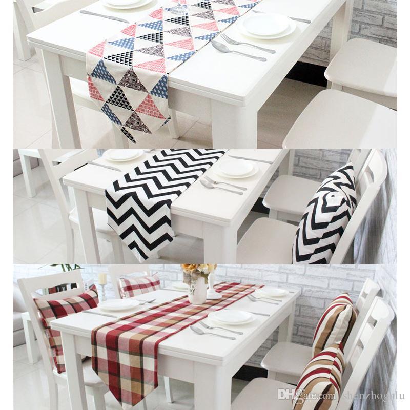 Tischläufer Schwarz Weiß großhandel tischläufer geometrische wellengitter druck leinwand