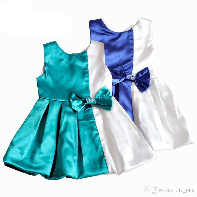 bb496c9690f8 Acquista Vestiti Della Ragazza I Bambini Del Bambino Con Il Vestito Di Un  Pezzo Di Colore Blu E Bianco Di Vendita Calda Fiocco Senza Maniche O Collo  A  6.86 ...