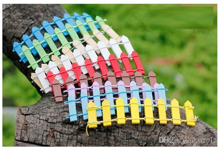 Wooden Handmade Mini Fence Barrier Wooden Craft Miniature Fairy Garden Branch Palings Vetrina 9 colori wa4141