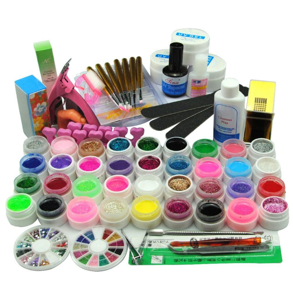 Wholesale Uv Gel Nail Polish Set Nail Art Tools Brushes Glitter Gel ...