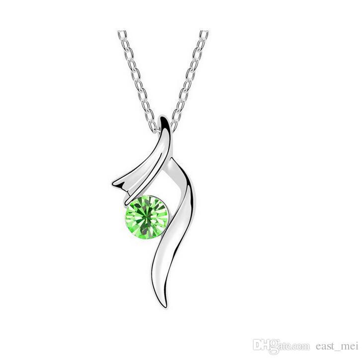 Collana di cristallo austriaca nuovissima pendente galleggiante ornamenti in lega femminile WFN090 con catena ordine della miscela 20 pezzi molto