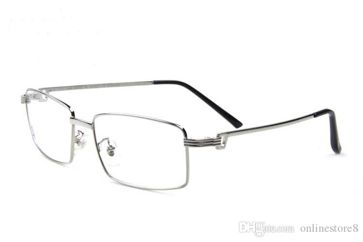 Luxury Full Rim Men Sunglasses Plain mirror Glasses Metal Alloy Golden silver Frame Fashion Vintage Buffalo Horn Glasses With Box