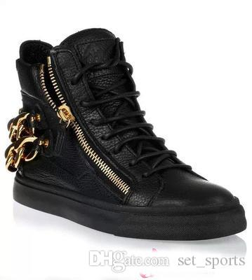 ae93788fa99 Trend Cheap Name Brand Sneakers Gold Buckle Design Mens Shoes High Top  Sneakers