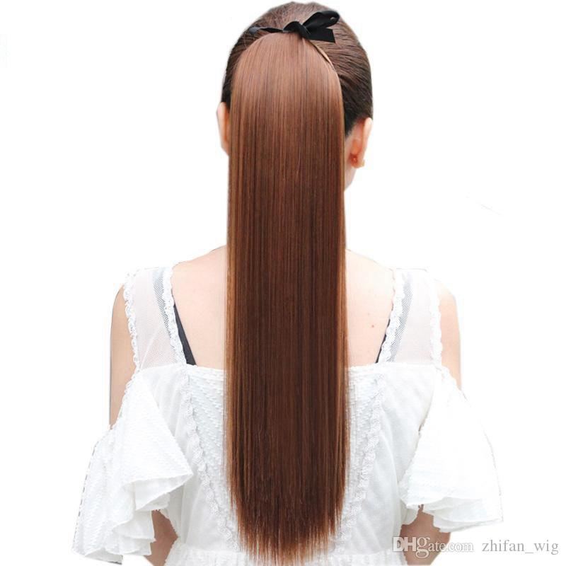Zf 40cm Long Straight Ponytails Clip In Ponytail Drawstring