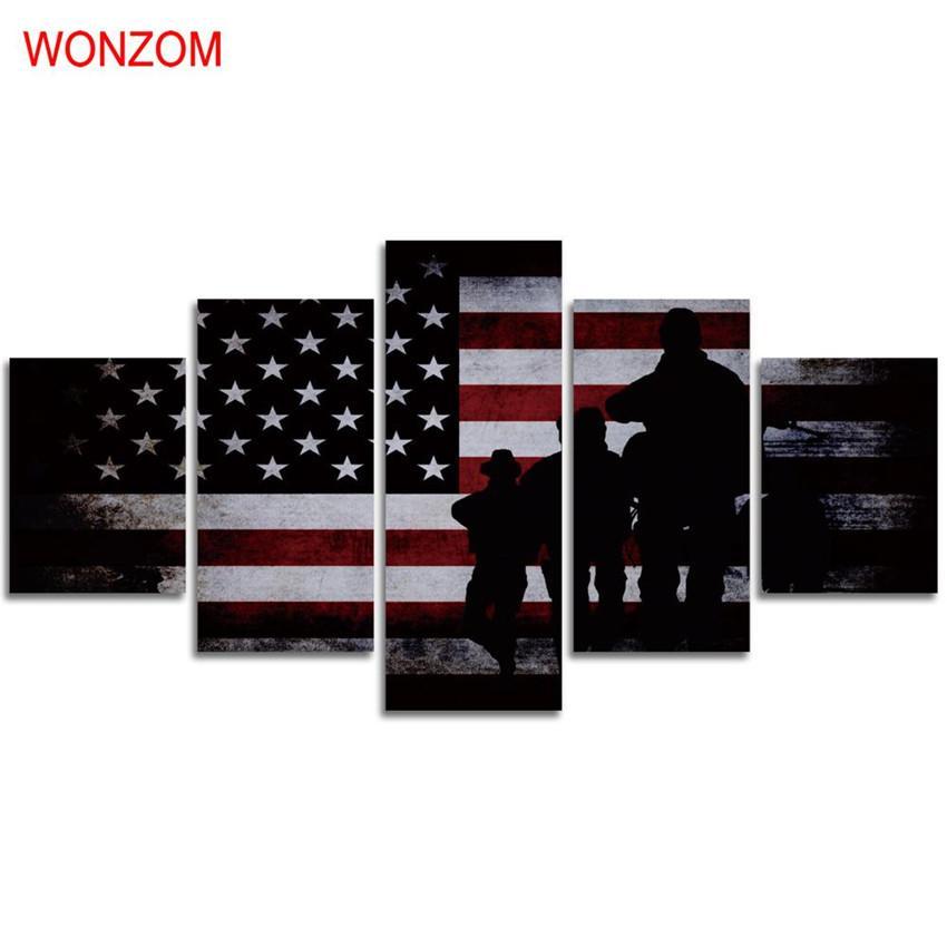 Satın Al Amerikan Bayrağı Ve Askerler 5 Parça Ev Dekorasyonu Hd
