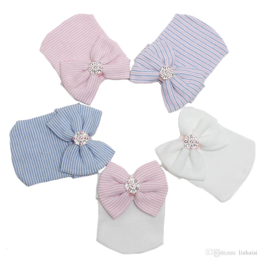 Spring Autumn Newborn Babies Baby Big Hair Bow Knitted Hats Soft Cotton Unisex Toddlers Hat Cute Stripe Infants Caps For 3-6 Mos