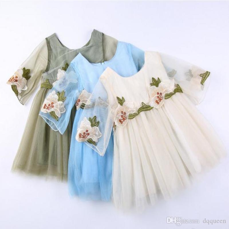 0617ddadd1c 2019 Baby Girls Summer Dresses Seeveless Dress Flowers Embroidery Princess  Dress Sweet Flower Girl Dress Pink Black Party Birthday From Dqqueen