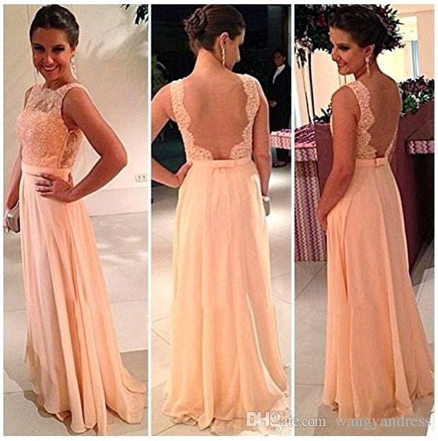 Barato vestidos de dama de honra gajo de volta Chiffon Lace Long cor de pêssego para venda vestido de noite vestido de baile