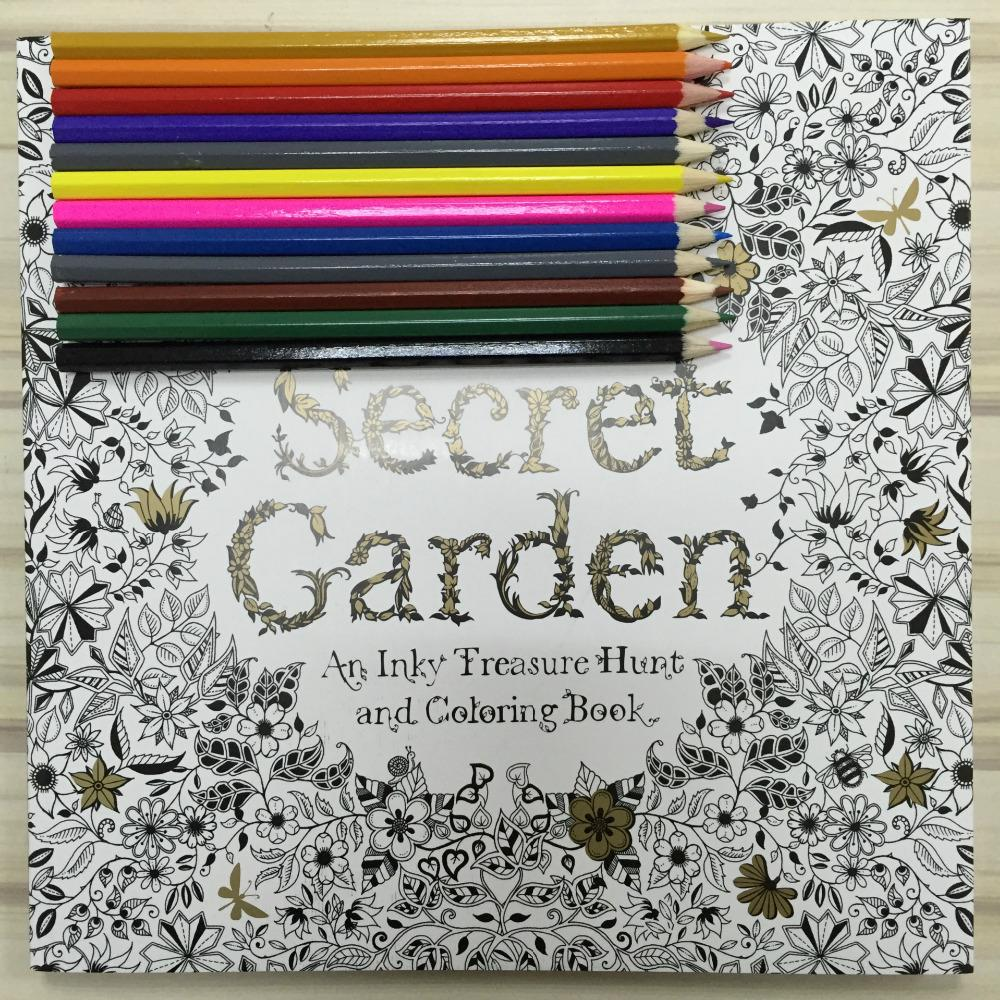 Secret Garden Coloring Book Adult Hand Drawn Pencils