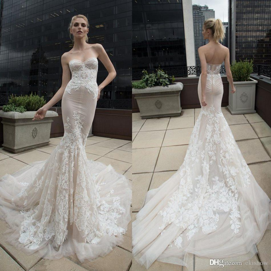 2017 Inbal Dror Arabic Lace Wedding Dresses Applique Sweetheart ...