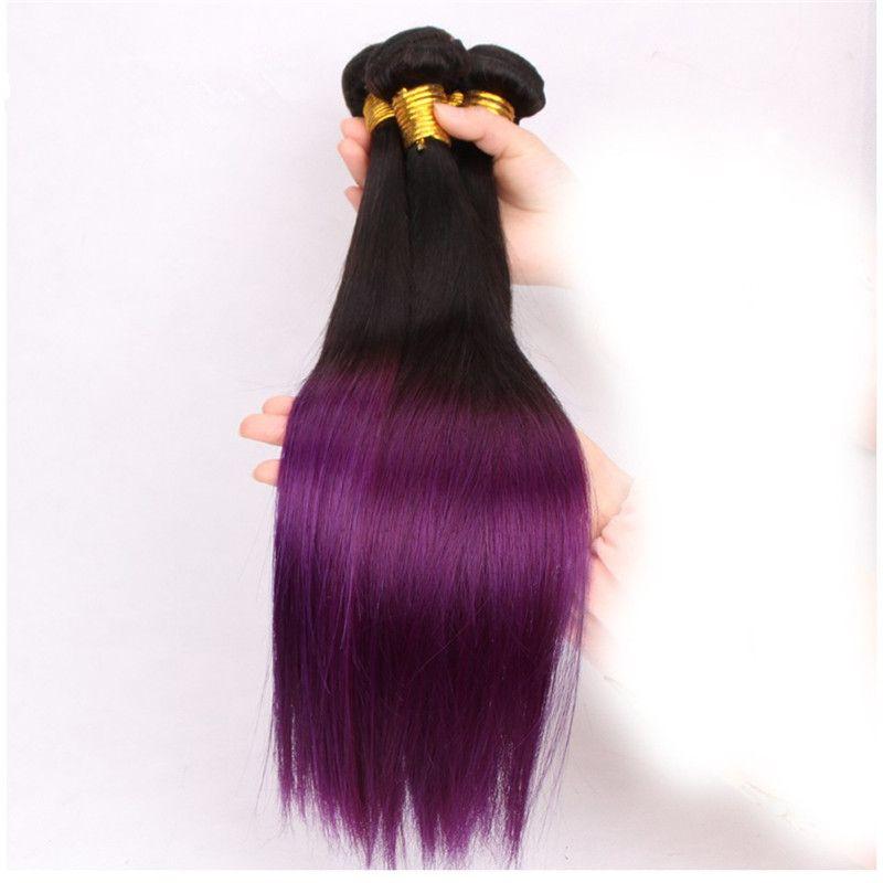 Virgin Brazilian 1B Purple Ombre Hair Extensions Silky Straight 2Tone Dark Roots Purple Ombre 3Bundles Brazilian Ombre Human Hair Weaves