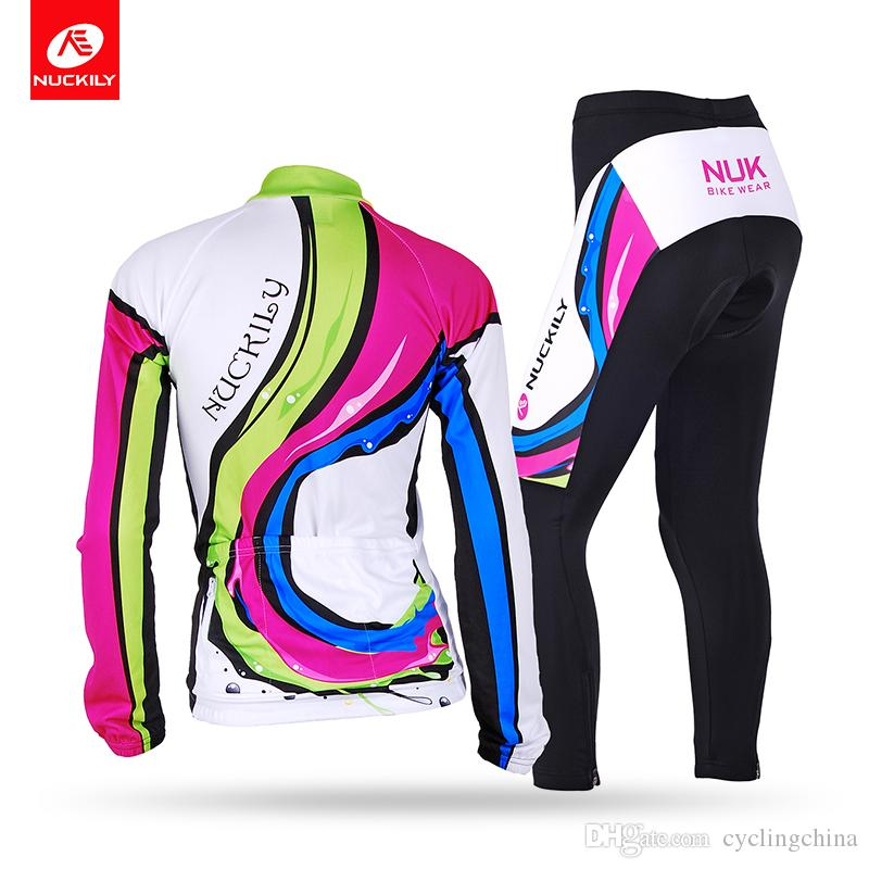 9bc183017 Nuckily Women Comfortable Fleece Outdoors Sport Winter Suit With Cycling  Thermal Long Sleeve Jersey And Tights GE002   GF002 Road Cycling Shoes  Retro ...