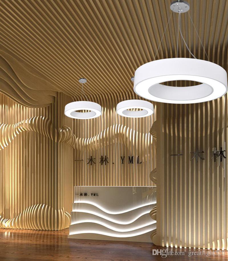 Luces de oficina Lámpara simple Lámpara circular Led Iluminación colgante Simplifique luces de suspensión redondas huecas Diámetro de iluminación LED 40 cm / 60 cm